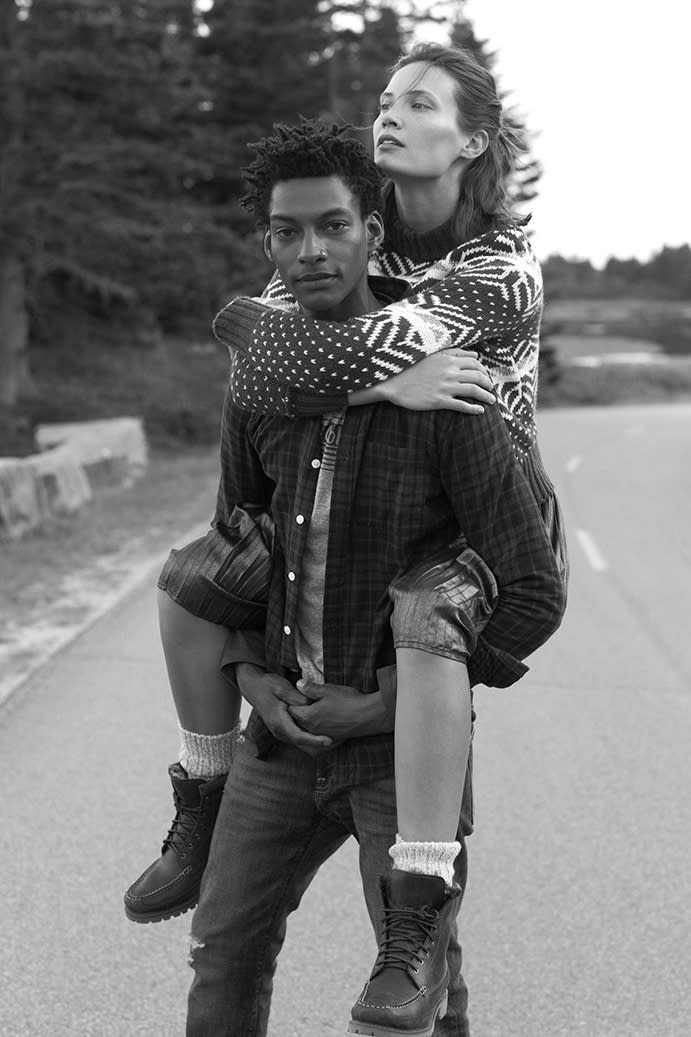A couple gets cozy in the Abercrombie & Fitch Fall/Winter 2016 campaign. (Photo: Josh Olins and Matt Jones for Abercrombie & Fitch)