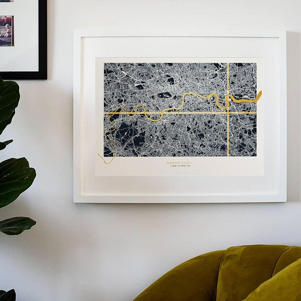 """<p><a rel=""""nofollow noopener"""" href=""""https://www.notonthehighstreet.com/catfordcreative/product/personalised-metallic-london-coordinates-map-in-navy"""" target=""""_blank"""" data-ylk=""""slk:BUY NOW"""" class=""""link rapid-noclick-resp"""">BUY NOW</a> <strong>Notonthehighstreet.com, £65 </strong></p><p>Created by Catford Creative, this personalised map pinpoints the location of the new abode while also adding masses of style to the interior space. </p>"""