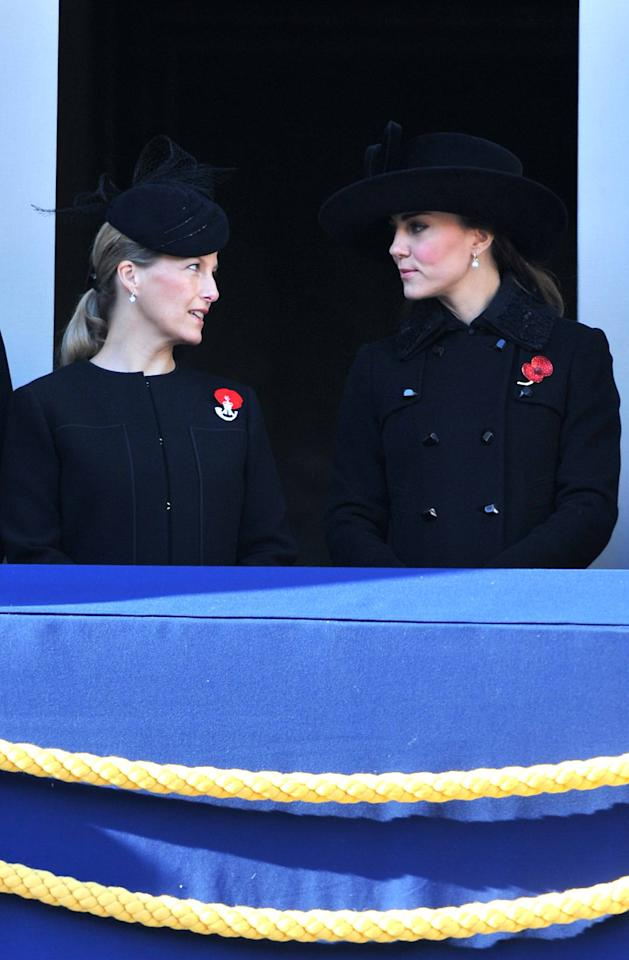 Sophie, Countess of Wessex and Catherine, Duchess of Cambridge, aka Kate Middleton Remembrance Sunday commemorating sacrifices of the armed forces held at the Cenotaph. London, England - 11.11.12 Mandatory Credit: Daniel Deme/WENN.com