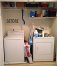 """<p>White appliances are nothing special to look at and a lack of shelving only made them more of <a href=""""http://celebratingeverydaylife.com/before-after-my-laundry-room-makeover/"""" rel=""""nofollow noopener"""" target=""""_blank"""" data-ylk=""""slk:an eyesore"""" class=""""link rapid-noclick-resp"""">an eyesore</a>.</p>"""