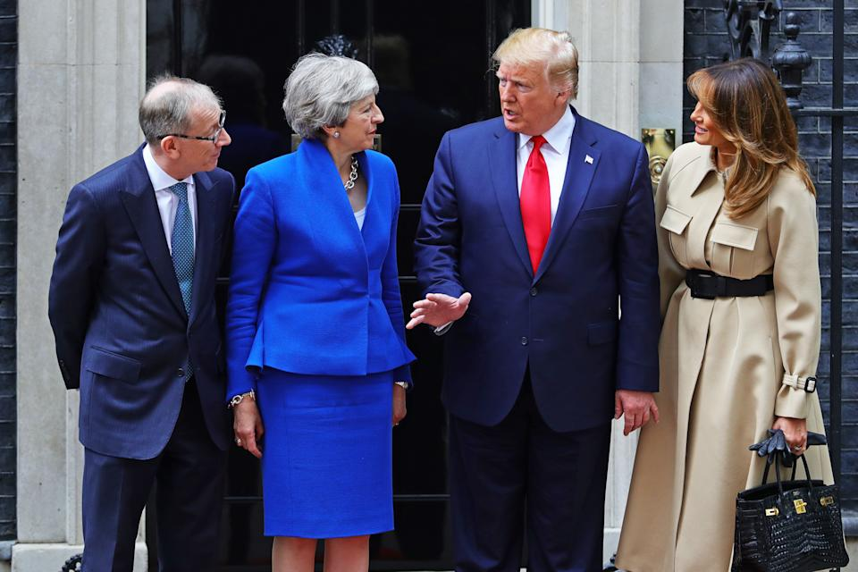 Philip May and Prime Minister Theresa May welcoming US President Donald Trump and first lady Melania Trump to Downing Street, London, on the second day of his state visit to the UK. (PA