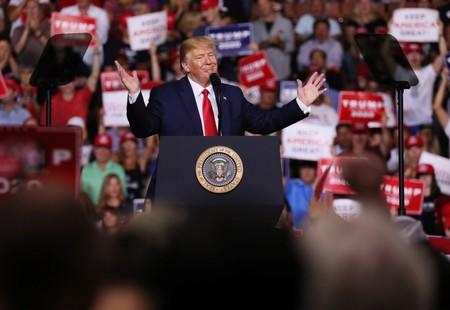 U.S. President Donald Trump rallies with supporters in Manchester