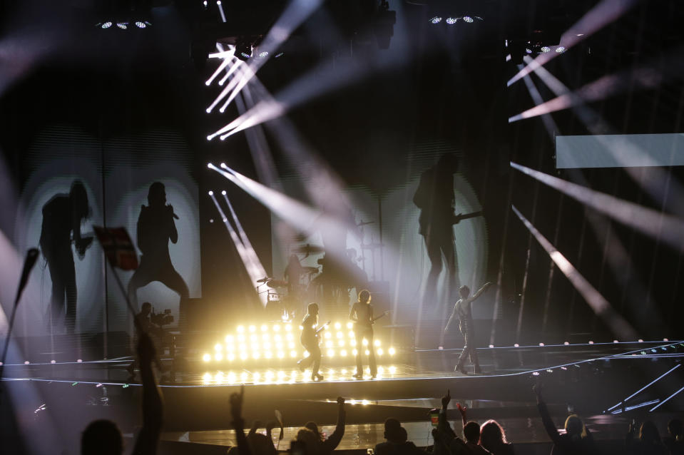Maneskin from Italy perform Zitti E Buoni after winning the Grand Final of the Eurovision Song Contest at Ahoy arena in Rotterdam, Netherlands, Saturday, May 22, 2021. (AP Photo/Peter Dejong)