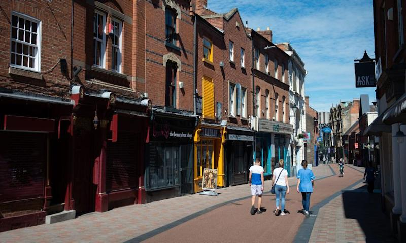 A virtually deserted Silver Street in Leicester on 30 July.