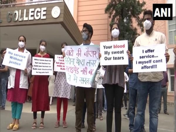 Protesting resident doctors (Photo/ANI)