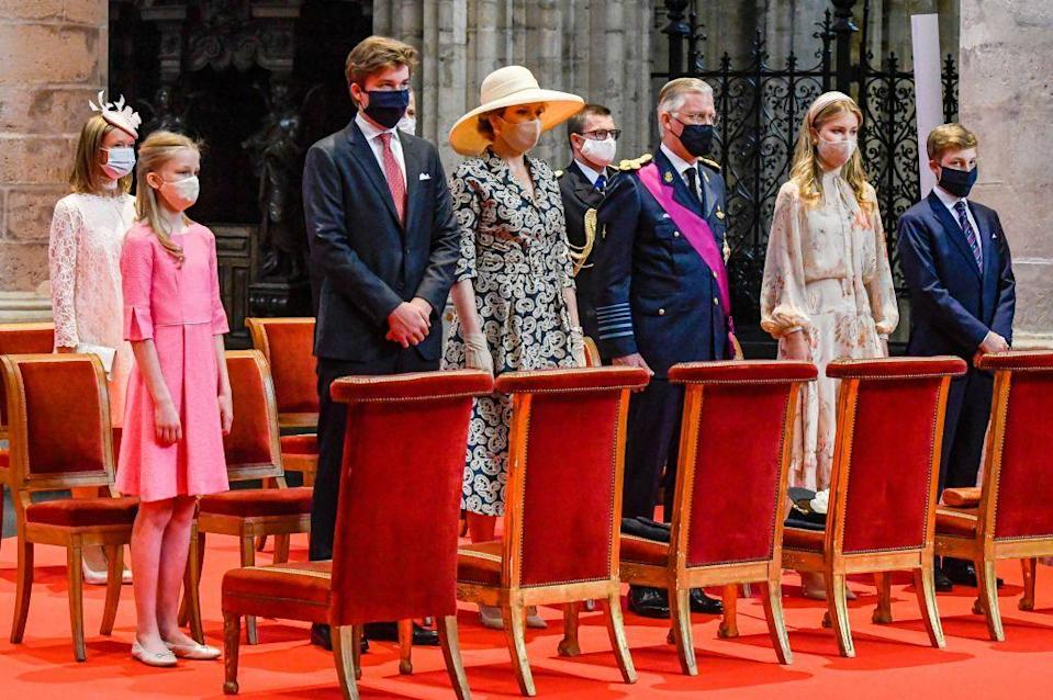 <p>The full family of six attended: the King and Queen, heir to the throne Crown Princess Elisabeth, as well as Prince Gabriel (second left), Prince Emmanuel (far right), and Princess Eléonore (far left).</p>