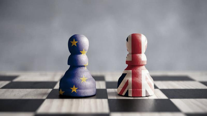 Pawns decorated with the UK and EU flags