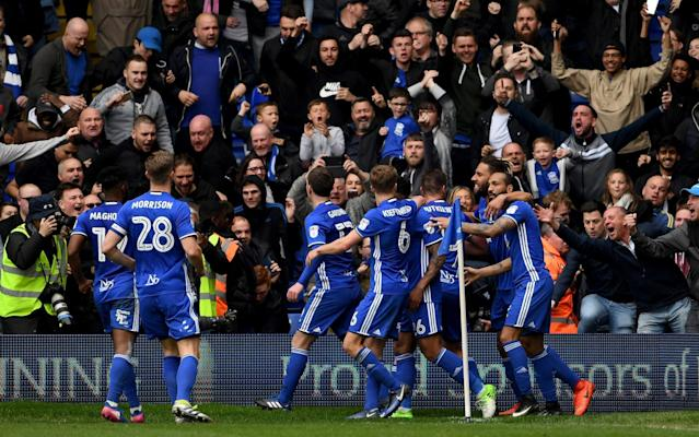 <span>Birmingham's players celebrate Craig Gardner's penalty that sealed the game</span> <span>Credit: Getty Images </span>