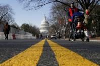 People try to see the Capitol as streets are blocked for security reasons ahead of U.S. President-elect Joe Biden's inauguration, in Washington