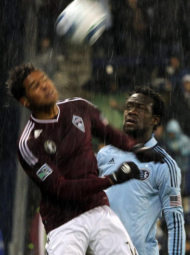 KANSAS CITY, KS - NOVEMBER 02: Kei Kamara #23 of Sporting Kansas City watches as Quincy Amarikwa #12 the Colorado Rapids heads the ball during the game on November 2, 2011 at LiveStrong Sporting Park in Kansas City, Kansas. (Photo by Jamie Squire/Getty Images)