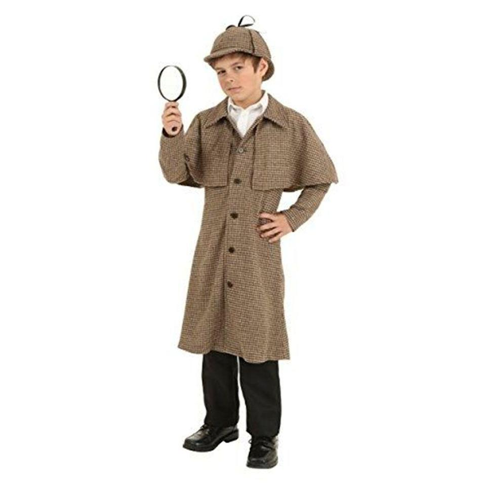 """<p><strong>Fun Costumes</strong></p><p>amazon.com</p><p><strong>$29.99</strong></p><p><a href=""""http://www.amazon.com/dp/B015NQFZ6O/?tag=syn-yahoo-20&ascsubtag=%5Bartid%7C10070.g.22583902%5Bsrc%7Cyahoo-us"""" rel=""""nofollow noopener"""" target=""""_blank"""" data-ylk=""""slk:Shop Now"""" class=""""link rapid-noclick-resp"""">Shop Now</a></p><p>If he called you out for sneaking just <em>one</em> piece of his <a href=""""https://www.womansday.com/food-recipes/food-drinks/g1931/leftover-halloween-candy-recipes/"""" rel=""""nofollow noopener"""" target=""""_blank"""" data-ylk=""""slk:Halloween candy stash"""" class=""""link rapid-noclick-resp"""">Halloween candy stash</a> last year, this detective costume will be right up his alley.</p>"""