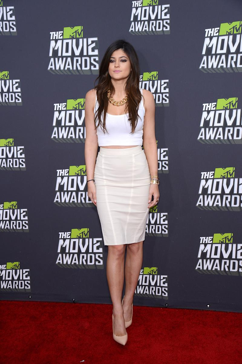 Kylie Jenner opted for white and nude, a palette she'd come to favor down the line much like sister Kim Kardashian, at the MTV Movie Awards in Culver City, California, April 2013.
