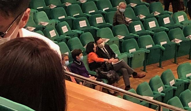 Chief Executive Carrie Lam (bottom left) can be seen in her seat prior to the performance by the Hong Kong Philharmonic Orchestra last Friday. Photo: Handout