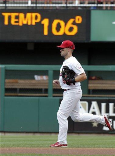 The stadium scoreboard displays a temperature of 106 degrees as St. Louis Cardinals second baseman Skip Schumaker takes the field in the first inning of a baseball game against the Miami Marlins, Saturday, July 7, 2012, in St. Louis. (AP Photo/Tom Gannam)