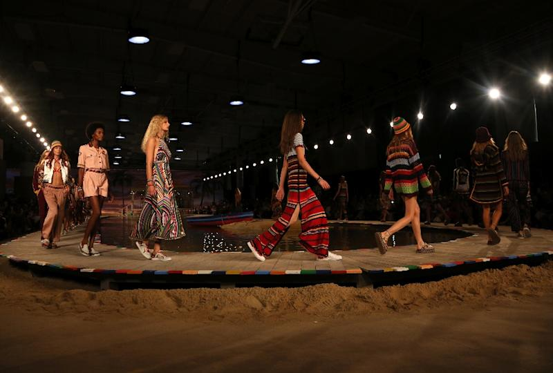 Models walk the runway during the Tommy Hilfiger presentation during New York Fashion Week in New York on September 14, 2015 (AFP Photo/Trevor Collens)