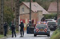 French special forces are pictured in Corcy, near Villers-Cotterets, northern France