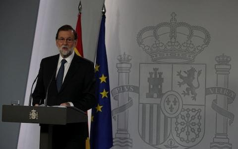 Spain's Prime Minister Mariano Rajoy delivers a statement at the Moncloa Palace in Madrid - Credit: Sergio Perez/Reuters