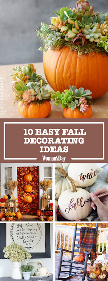 "<p>Save these easy fall decorating ideas for later by pinning this image and <a rel=""nofollow"" href=""https://www.pinterest.com/womansday/"">follow Woman's Day on Pinterest</a> for more.</p>"