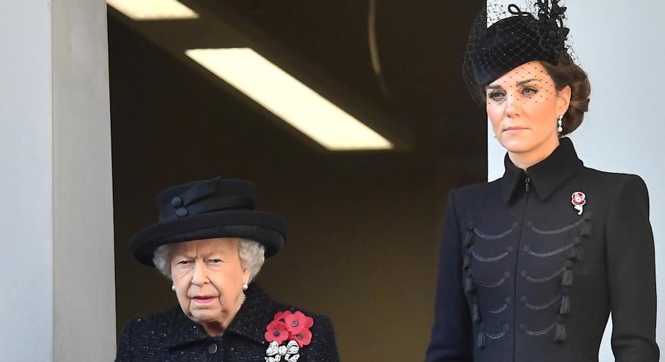 Kate Middleton joined the Queen on a balcony overlooking the Cenotaph for Remembrance Sunday [Image: Getty]