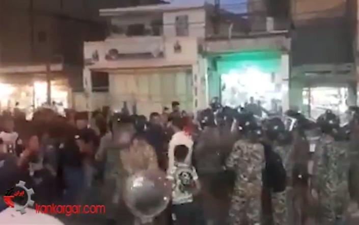 A screengrab from a video shared online purportedly showing Iranian protesters in Khuzestan province - Grab from @NegarMortazavi social media post on twitter