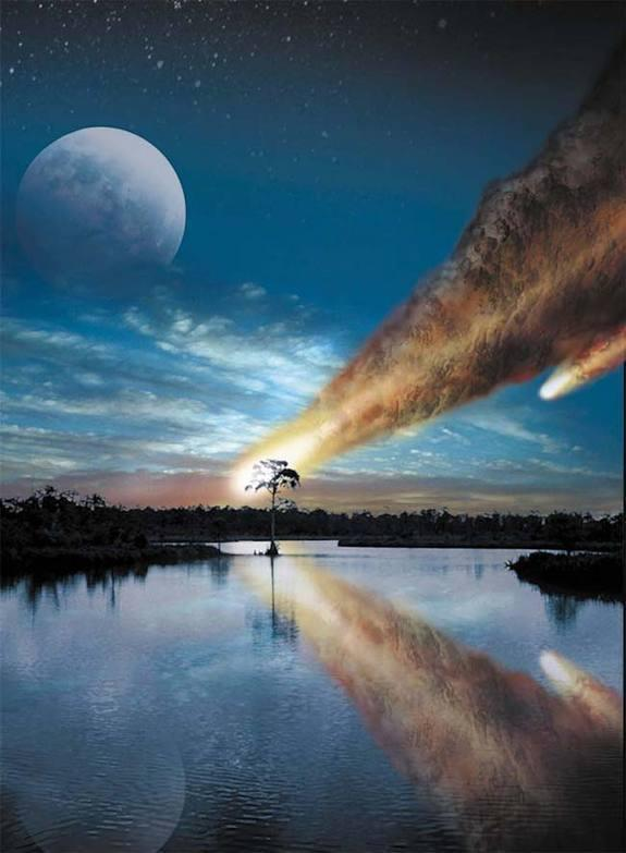 An artist's concept of the giant asteroid or comet plunging into what is now Chesapeake Bay 35 million years ago.