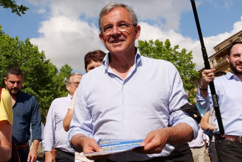 Thierry Mariani, candidate for presidency of PACA region, part of French far-right RN party ticket, campaigns in Aix-en-Provence