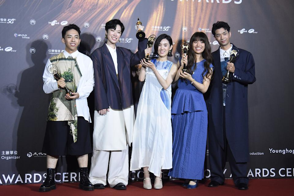 TAIPEI, CHINA - AUGUST 21: Members of Taiwanese vocal group 'The Wanted' pose with trophies backstage during the 32nd Golden Melody Awards on August 21, 2021 in Taipei, Taiwan of China. (Photo by Chen Lihong/VCG via Getty Images)