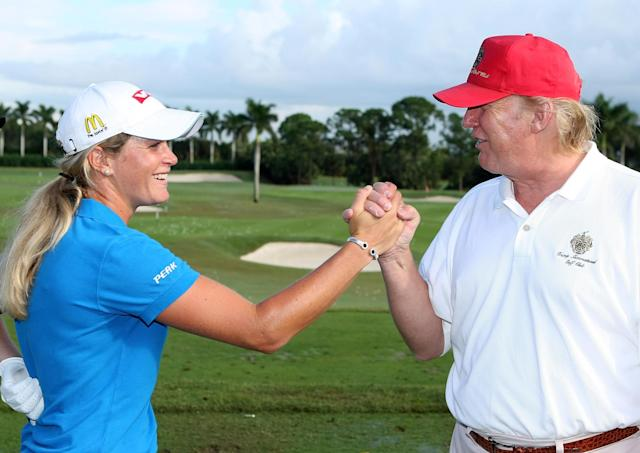 "<a class=""link rapid-noclick-resp"" href=""/golf/lpga/players/Suzann+Pettersen/4290"" data-ylk=""slk:Suzann Pettersen"">Suzann Pettersen</a> and Donald Trump in 2007. (Getty)"