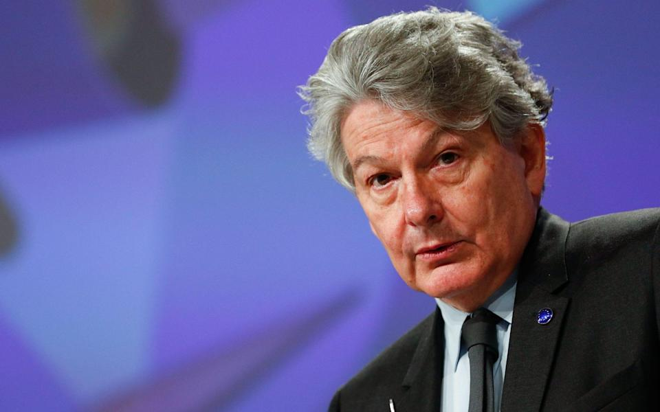Thierry Breton tweeted to celebrate the success of Ireland's rollout - JOHANNA GERON/POOL/EPA-EFE/Shutterstock