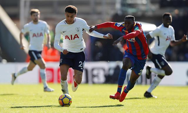 "Soccer Football - Premier League - Crystal Palace vs Tottenham Hotspur - Selhurst Park, London, Britain - February 25, 2018 Tottenham's Dele Alli in action with Crystal Palace's Aaron Wan-Bissaka Action Images via Reuters/Paul Childs EDITORIAL USE ONLY. No use with unauthorized audio, video, data, fixture lists, club/league logos or ""live"" services. Online in-match use limited to 75 images, no video emulation. No use in betting, games or single club/league/player publications. Please contact your account representative for further details."