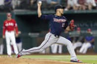 Minnesota Twins starting pitcher Jose Berrios (17) throws during the first inning of a baseball game against the Texas Rangers in Arlington, Texas, Friday, June 18, 2021. (AP Photo/Andy Jacobsohn)