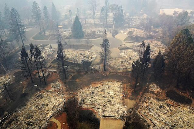 A neighborhood destroyed by the Camp Fire. (Photo: Justin Sullivan/Getty Images)