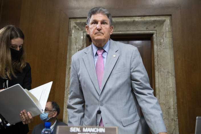 Chairman Joe Manchin, D-W. Va., arrives for the Senate Energy and Natural Resources Committee confirmation hearing for Tommy P. Beaudreau, nominee for deputy Interior secretary, in Dirksen Building on Thursday, April 29, 2021. (Tom Williams/CQ Roll Call via Getty Images)