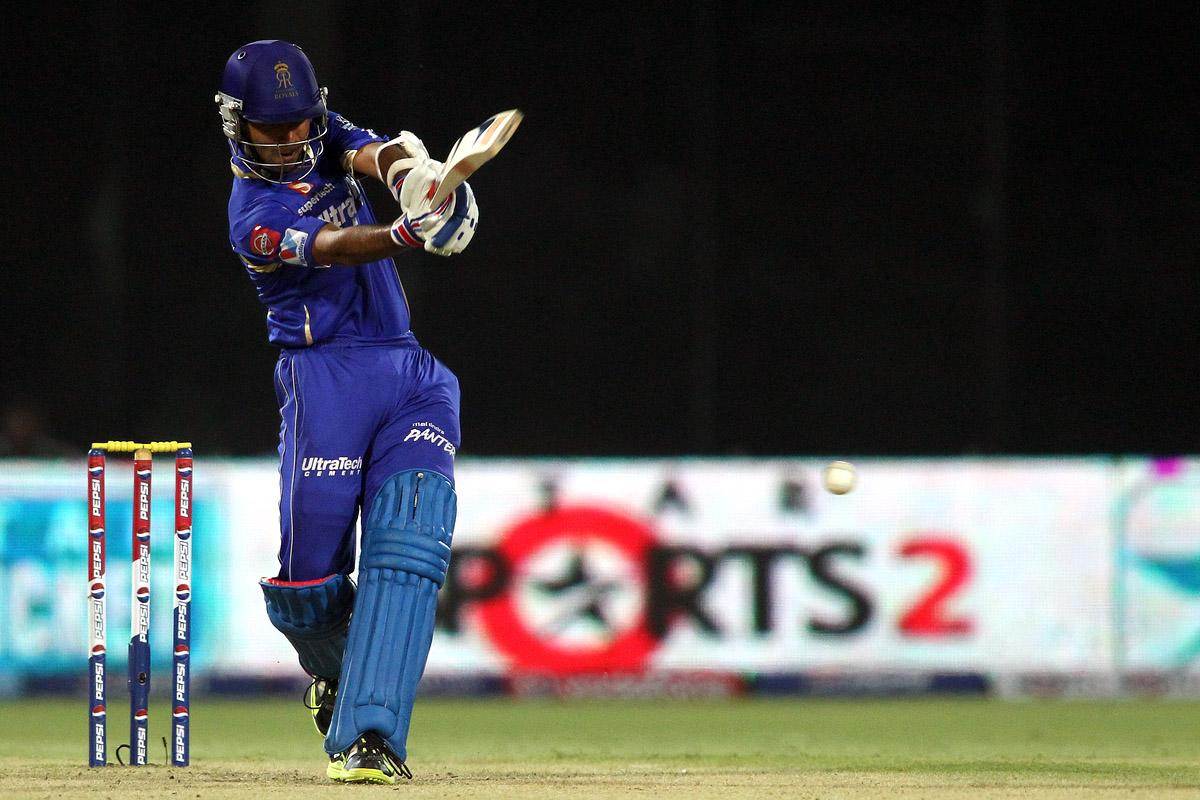 Ajinkya Rahane of Rajasthan Royals pulls a delivery towards the boundary during the eliminator match of the 2013 Pepsi Indian Premier League between The Rajasthan Royals and the Sunrisers Hyderabad held at the Feroz Shah Kotla Stadium, Delhi on the 22nd May 2013. (BCCI)