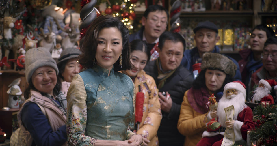 Michelle Yeoh as Santa in Last Christmas, directed by Paul Feig.