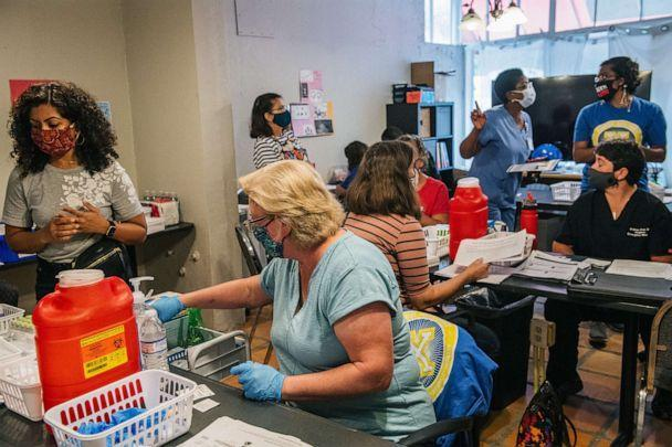 PHOTO: Volunteer doctors and nurses prepare ahead of a COVID-19 vaccine clinic on May 13, 2021 in Houston, Texas. (Brandon Bell/Getty Images, FILE)