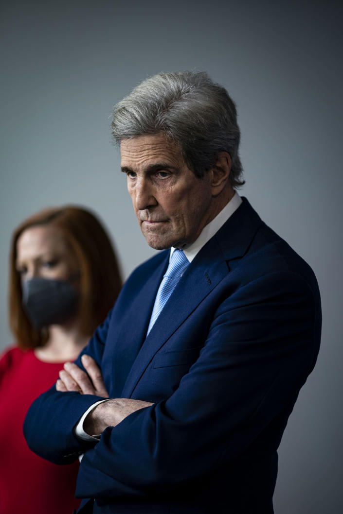 U.S. Special Presidential Envoy for Climate John Kerry attends a briefing at the White House in Washington, April 22, 2021. (Al Drago/The New York Times)