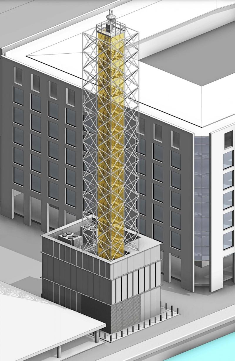 Architectural drawing of the London City Airport's digital tower (PA)