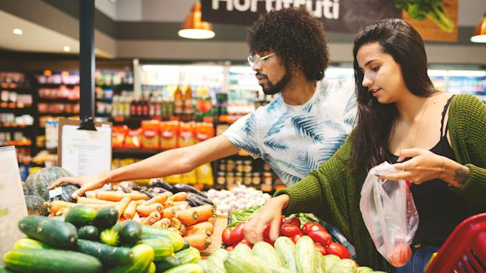 Couple in the grocery.