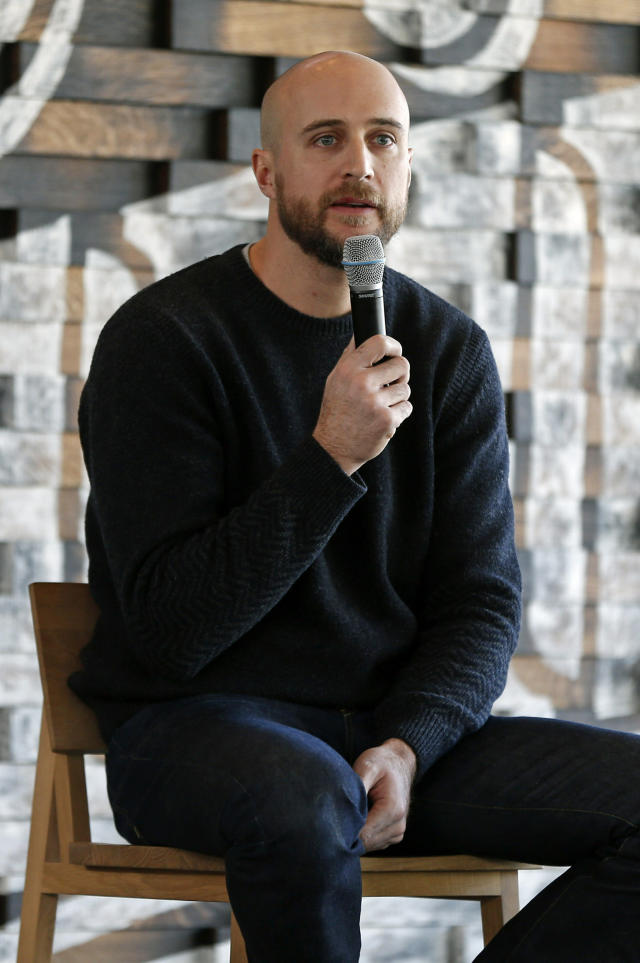 New Minnesota Twins manager Rocco Baldelli addresses the media with the team's annual fan fest underway at Target Field Friday, Jan. 25, 2019, in Minneapolis. (AP Photo/Jim Mone)