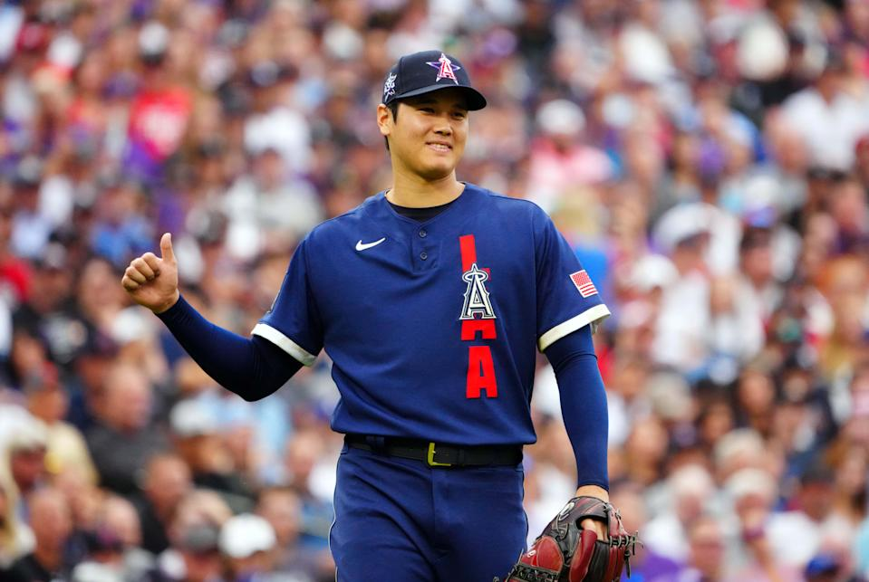 Shohei Ohtani walks off the mound in the first inning.