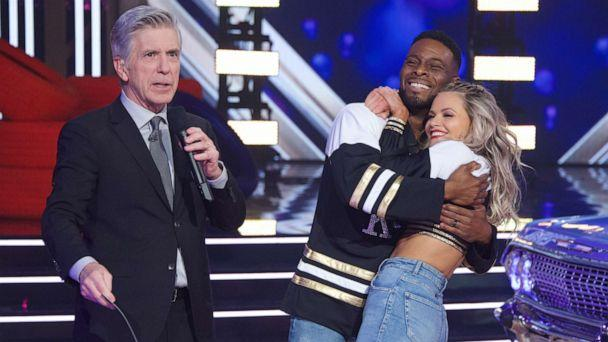 PHOTO: Host Tom Bergeron, left, with Kel Mitchell and Witney Carson on the finale of the 2019 season of 'Dancing with the Stars.' (Eric McCandless/ABC)
