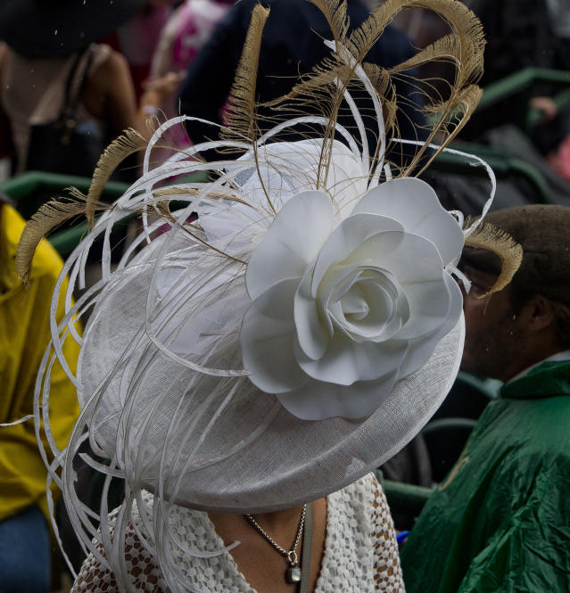 <p>LOUISVILLE, KY – MAY 05: A woman wears a fancy hat on Kentucky Derby Day at Churchill Downs on May 5, 2018 in Louisville, Kentucky. (Photo by Scott Serio/Eclipse Sportswire/Getty Images) </p>