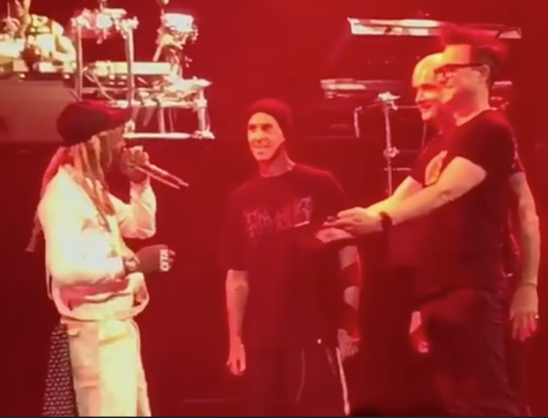 Blink-182 gift Lil Wayne a blunt on stage for his birthday: Watch