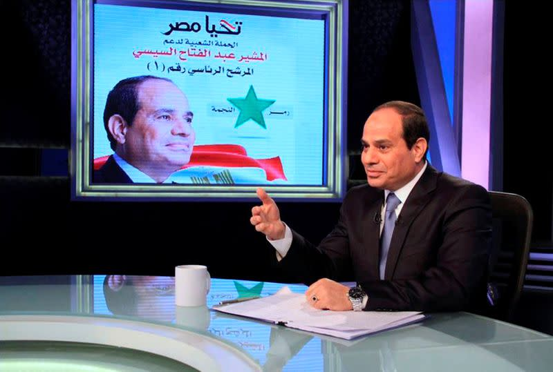 FILE PHOTO: Presidential candidate and Egypt's former army chief Abdel Fattah al-Sisi talks during a television interview broadcast on CBC and ONTV