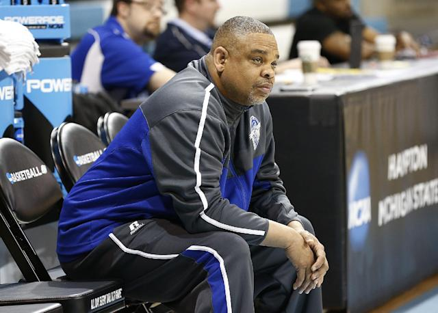 Hampton coach David Six watches his team during practice at the NCAA women's college basketball tournament in Chapel Hill, N.C., March 22, 2014. Hampton plays Michigan State in a first-round game on Sunday. (AP Photo/Ellen Ozier)