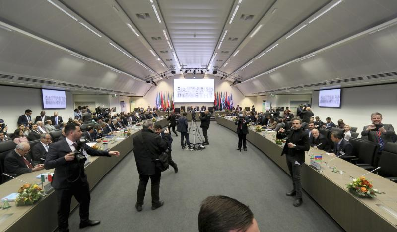 General view of a meeting of oil ministers of the Organization of the Petroleum Exporting Countries, OPEC, at their headquarters in Vienna, Austria, Austria, Thursday, Dec. 5, 2019. (AP Photo/Ronald Zak)