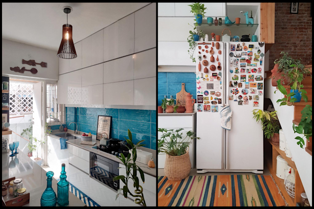 The palette for the open kitchen is inspired by the Greek island of Santorini. The terracotta fridge magnets are a DIY project by Kajal.