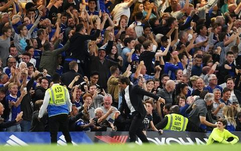 Chelsea manager Antonio Conte celebrates after Diego Costa scored their second goal - Credit: Action Images