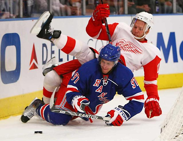 """<p>Gilroy seemed to be the complete package when he signed out of Boston University. At 6' 2"""", 200 pounds, he was a smooth-skating, puck-moving defender and a Hobey Baker winner, prompting the Blueshirts to sign the 24-year-old to a lucrative two-year, $3.5 million deal. He went on to play 225 games for four different NHL clubs, but never managed to move beyond the third pair. Out of NHL options, he eventually shuffled off to the KHL.</p>"""
